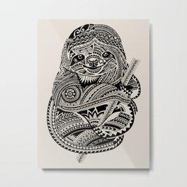 Polynesian Sloth Metal Print