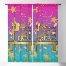 Gymnastics Live Your Dream with Pink to Blue Gradient  and Gold Stars Background Blackout Curtain
