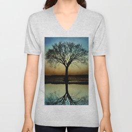 Tree Silhouette Design 178 Unisex V-Neck