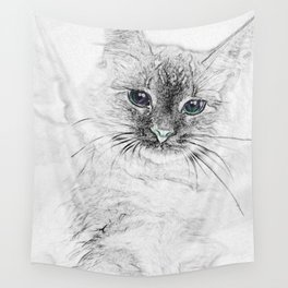 Siberian Kitty Cat Laying on the Marble Slab Wall Tapestry