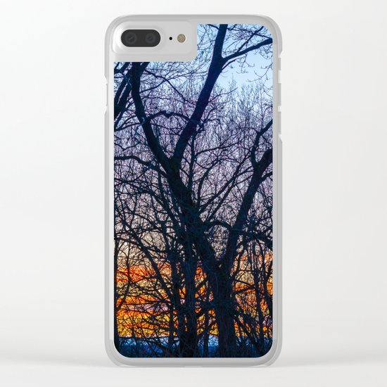Sunset in the forest Clear iPhone Case