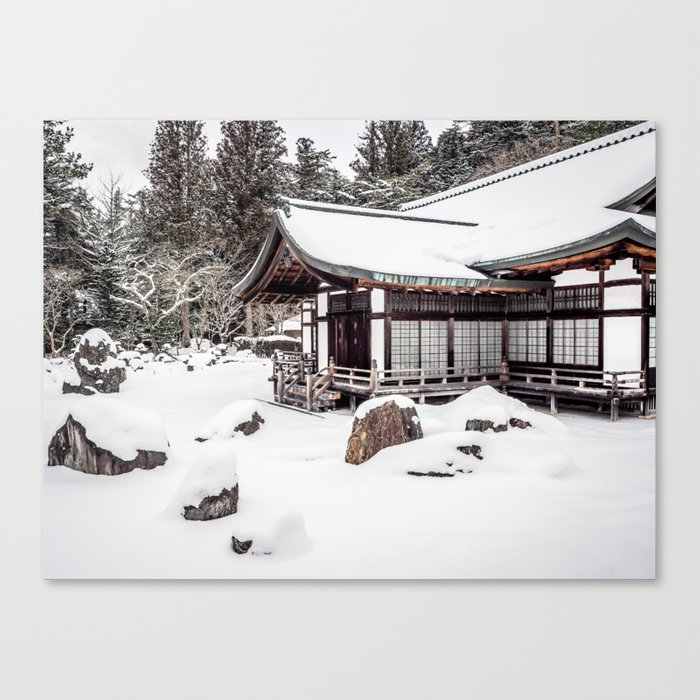 Japanese Buddhist Temple in Snow Canvas Print