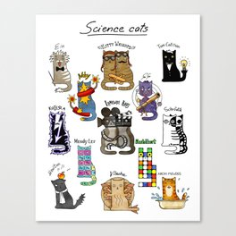 Science cats. History of great discoveries. Schrödinger cat, Tesla, Einstein. Physics, chemistry etc Canvas Print