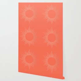 Simply Sunburst in Deep Coral Wallpaper