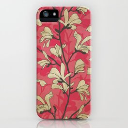 Kitschy Vintage Magnolia Pattern in Pink and White iPhone Case