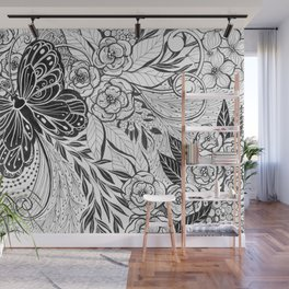 Butterfly and flowers Wall Mural