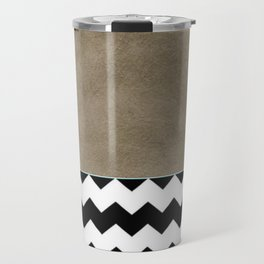 Shiny Copper Coffee Glaze And Black And White Chevron Pattern Travel Mug