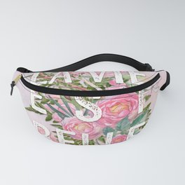 LAVIE EST BELLE - Watercolor - Pink Flowers Roses - Rose Flower Fanny Pack