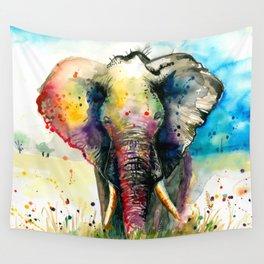 RAINBOW ELEPHANT WATERCOLOR Wall Tapestry