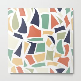 Modern seamless pattern with abstract organic shapes elements, vector illustration Metal Print