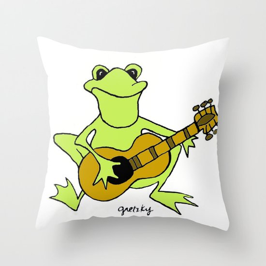 Frog with guitar Throw Pillow