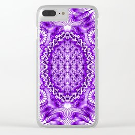 Purple Zentangle Tile Doodle Design Clear iPhone Case
