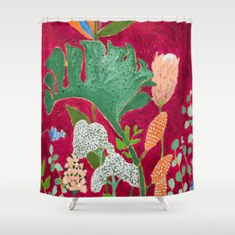 Magenta Jungle Painting, Monstera, Birds of Paradise Floral on Pink Jewel Tone Shower Curtain