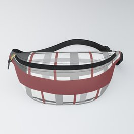 Grey Red Burgundy Checkered Gingham Patchwork Color Canvas Fanny Pack