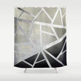 Textured Metal Geometric Gradient With Silver Shower Curtain