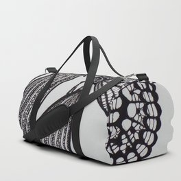 Butterfly and Tulip Endoskeleton (Black Ink Drawing) Duffle Bag