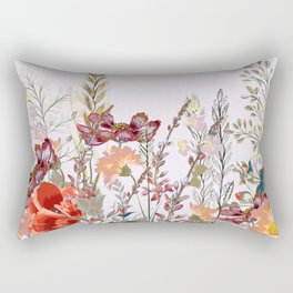 Spring field pattern with poppy and cosmos flowers Rectangular Pillow