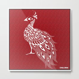 crimson peacock pavo real ecopop Metal Print