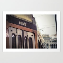 Entrance of a tram in the center of Milan Art Print