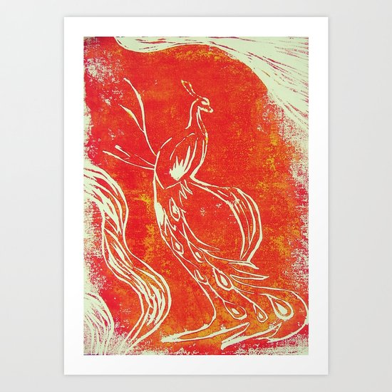 Peacock of Fire Art Print