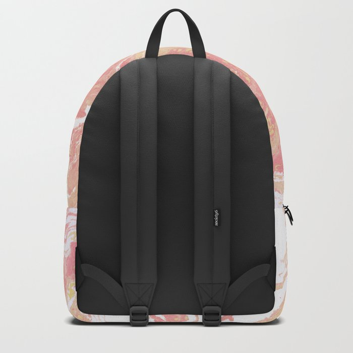 Marble texture background pastel cream shades . Backpack