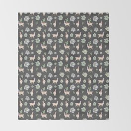 Cute Llamas & Amaryllis Floral Pattern Throw Blanket