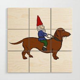 Gnome Riding a Dachshund Wood Wall Art