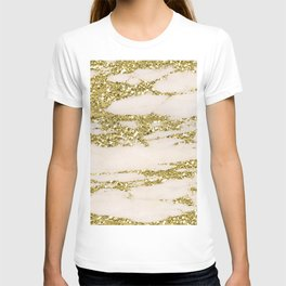 Marble - Gold Marble Glittery Light Pink and Yellow Gold T-shirt