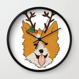 Christmas Corgi Wall Clock