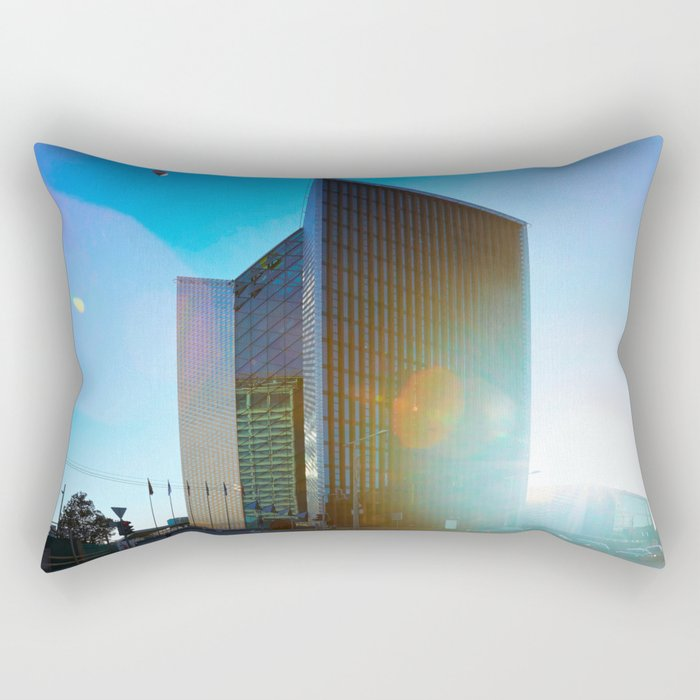 Air balloons and architecture of modern steel and glass skyscraper Rectangular Pillow