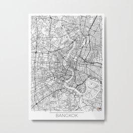 Bangkok Map White Metal Print