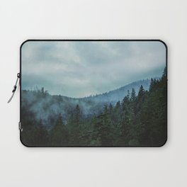 Misty Forest Mountains Trees Laptop Sleeve