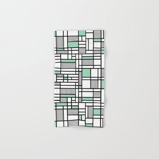 Map Lines Mint Hand & Bath Towel