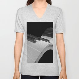 Keyboard of a piano waving on black background - 3D rendering Unisex V-Neck