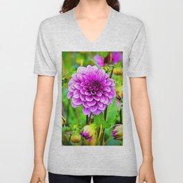 LILAC PURPLE DAHLIA FLOWERS & BUDS Unisex V-Neck