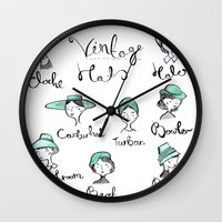 hats Wall Clocks featuring Vintage Hats by Emma Block