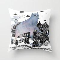 fog Throw Pillows featuring The Fog by littleclyde
