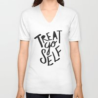 2pac V-neck T-shirts featuring Treat Yo Self by Leah Flores