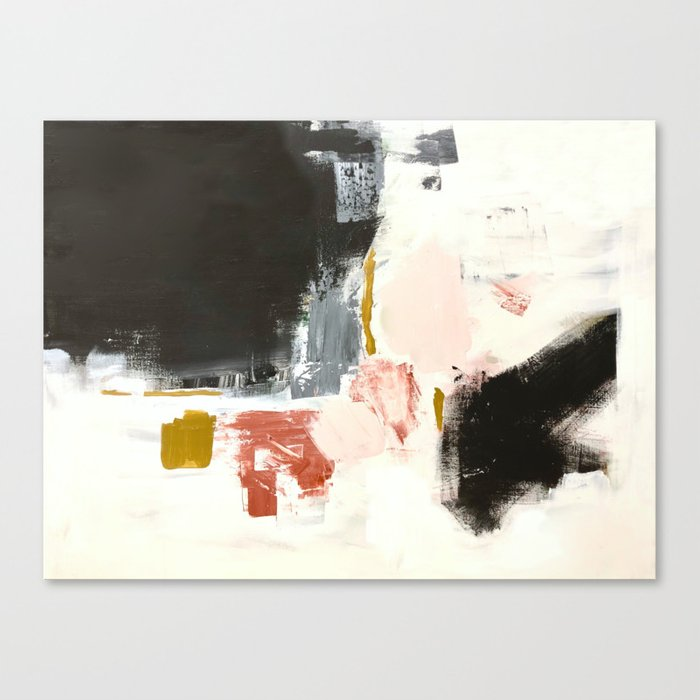 Jeanne's Song Abstract Painting with Black, Orange, Pink and Ochre Canvas Print