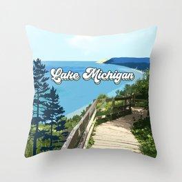 Lake Michigan Retro Throw Pillow