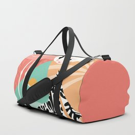 Girl with flamingo and Henri Matisse inspired decoration, vector illustration, geometric Duffle Bag