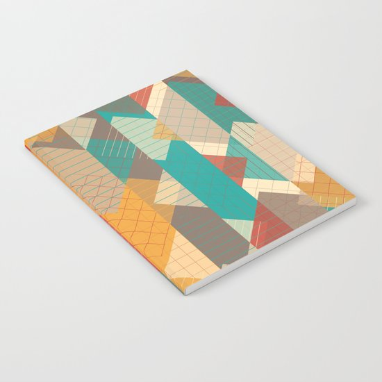 Geometric Geek Pattern - Squares, Stripes, Grids Notebook