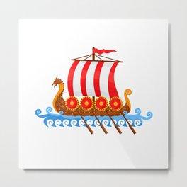 Cartoon Viking Ship Metal Print