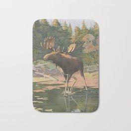 Vintage Moose Illustration (1902) Bath Mat