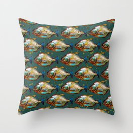 Piranha Army Hand painted Pattern Throw Pillow