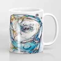 owl Mugs featuring The Sea Glass Owl by Abby Diamond