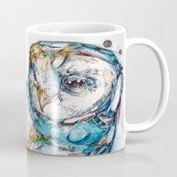 glass Mugs featuring The Sea Glass Owl by Abby Diamond