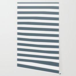 Cadet - solid color - white stripes pattern Wallpaper
