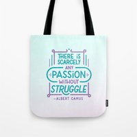 camus Tote Bags featuring Camus on Passion by Josh LaFayette