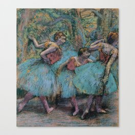 Edgar Degas - Three Dancers (Blue Tutus, Red Bodices) Canvas Print